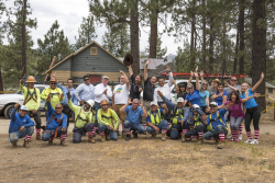 NRCA members celebrate four years of keeping family safe and dry... by raising a roof at Camp Ronald McDonald for good times